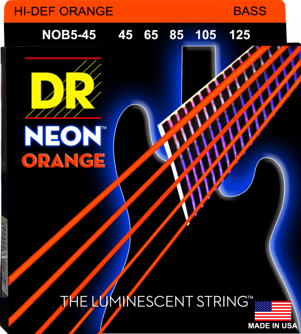 DR Strings Neon Orange 5 String Medium (45-125)