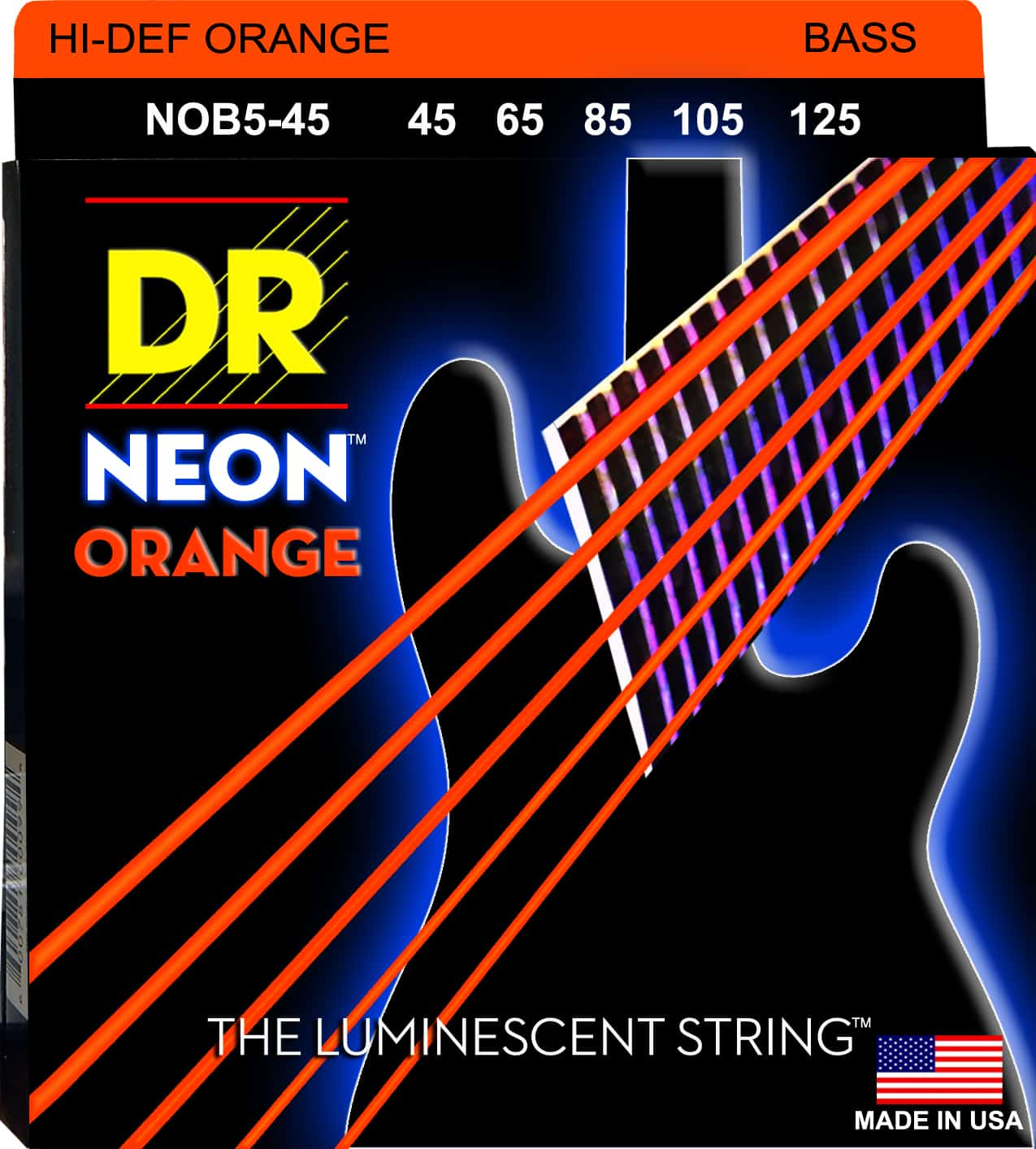 DR Strings Neon Orange 5 String Medium (45-125)