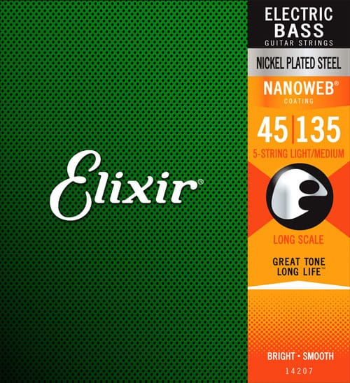 Elixir Electric Bass Nickel Plated Steel with NANOWEB Coating (45-135)